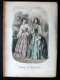 Journal des Demoiselles C1850 Antique Hand Col Fashion Print 88